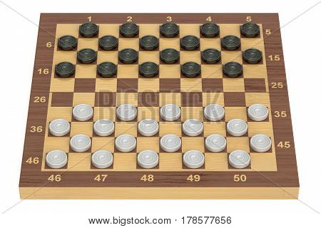 International checkers game board and pieces 3D rendering
