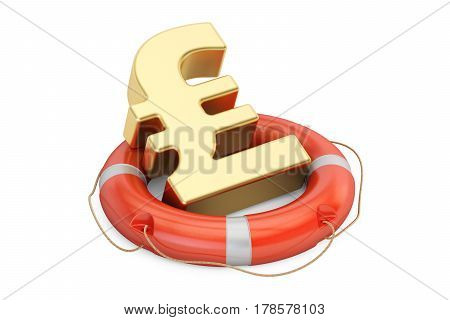 Lifebuoy with golden pound sterling symbol 3D rendering isolated on white background