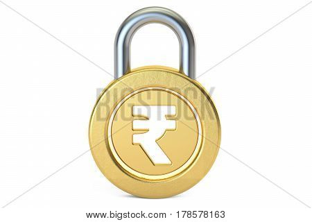 rupee padlock 3D rendering isolated on white background