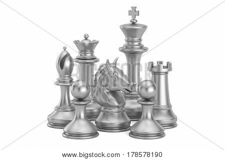 Silver chess figures 3D rendering isolated on white background