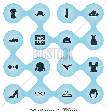 Vector Illustration Set Of Simple Garments Icons. Elements Formal Wear, Present, Elegant Headgear And Other Synonyms Gift, Cotton And Shoe.