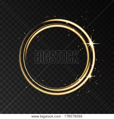 Golden Neon Circle Light Effect Isolated On Black Transparent Background.
