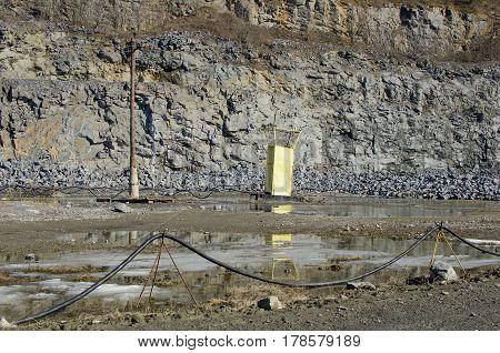 Granite quarry. Quarry landscapet. equipment in quarri