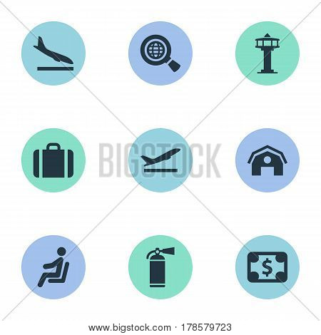Vector Illustration Set Of Simple Travel Icons. Elements Alighting Plane, Seat, Takeoff And Other Synonyms Takeoff, Control And Earth.