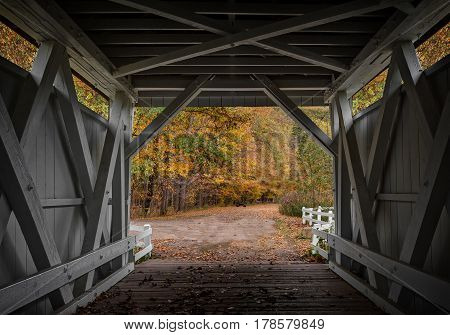 Looking out at the beautiful fall colors from the inside of the Everett Road Covered Bridge in the Cuyahoga Valley National Park in Ohio.