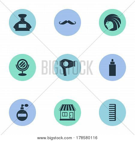Vector Illustration Set Of Simple Beautician Icons. Elements Drying Machine, Glamour Lady, Scent And Other Synonyms Container, Hairdryer And Looking-Glass.