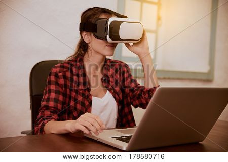 Beautiful Young Woman With 3D Viewer
