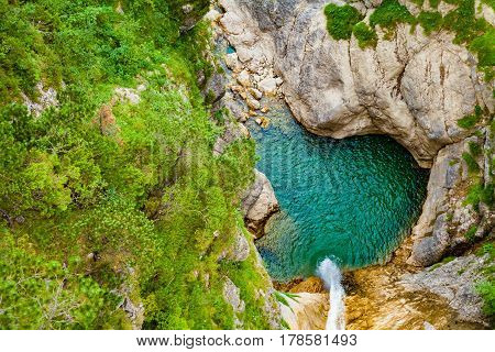 Small waterfall in Neuschwanstein, Germany. Top view