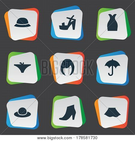 Vector Illustration Set Of Simple Clothes Icons. Elements Footwear, Hairdressing, Brolly And Other Synonyms Panties, Footwear And Elegant.
