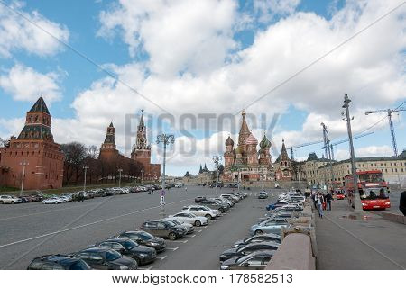 Moscow, Russia - 23 March 2017: Car Parking Behind Red Square