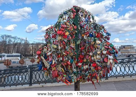 Moscow, Russia - March 23, 2017: Tree With The Locked Wedding Locks.