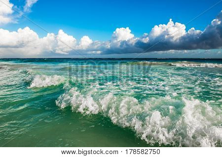 Highly detailed image of waves crashing on the beach