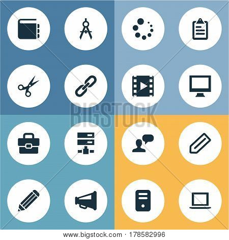 Vector Illustration Set Of Simple Icons Icons. Elements Chain, Laptop, Display And Other Synonyms Pen, Appliance And Circle.