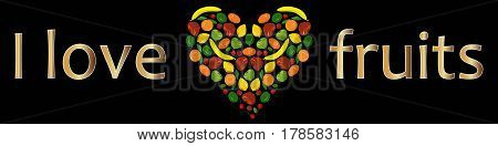 Background I like fruits, colorful fruits heart on black stock vector illustration