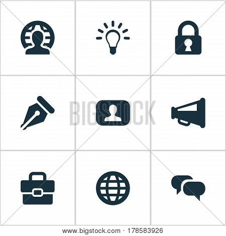 Vector Illustration Set Of Simple Job Icons. Elements Lamp, Padlock, Human And Other Synonyms Sign, News And Suitcase.