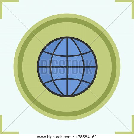 Globe color icon. Earth spherical model. Isolated vector illustration