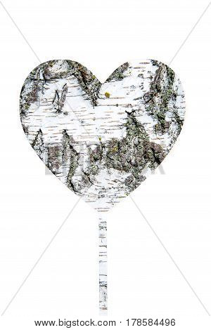 heart with the texture of birch bark with space for text isolation