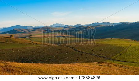 Beauty summer evening in the mountains in Altay, panoramic picture