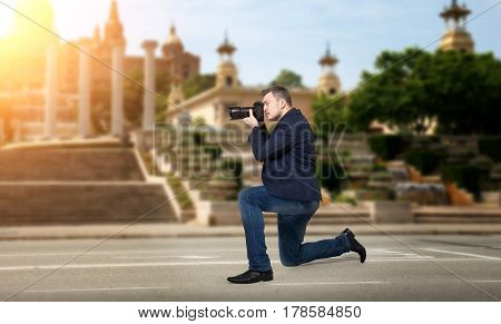 Professional photographer takes pictures of sights