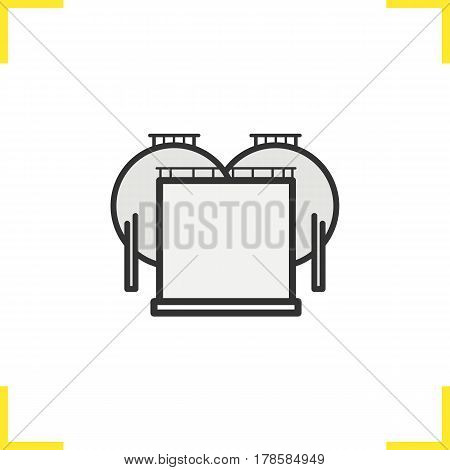 Oil tank color icon. Gas and petrol industry storage. Isolated vector illustration