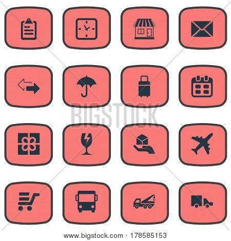 Vector Illustration Set Of Simple Carting Icons. Elements Gift, Trip Luggage, Envelope And Other Synonyms Travel, Directions And Luggage.