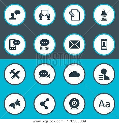 Vector Illustration Set Of Simple User Icons. Elements Gazette, Man Considering, E-Letter And Other Synonyms Negotiation, Relation And Profit.