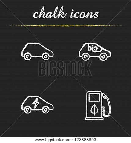 Eco friendly cars chalk icons set. Bio, electric vehicles, eco fuel concept. Isolated vector chalkboard illustrations