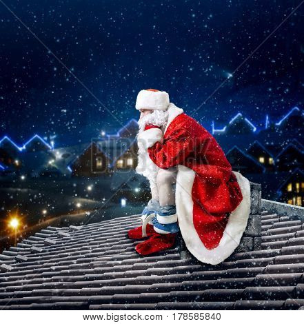Santa Claus on rooftop shit in the chimney poster
