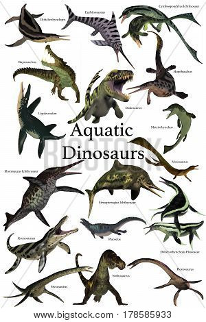 Aquatic Dinosaurs 3d illustration - A collection of various marine reptile dinosaurs from different prehistoric periods of Earth's history.