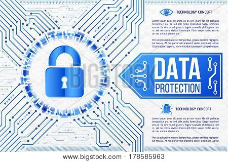 Digital technology concept of background with a padlock. Circuit board background. Hi-tech electronic wires. Abstract information security. Modern safety digital background.