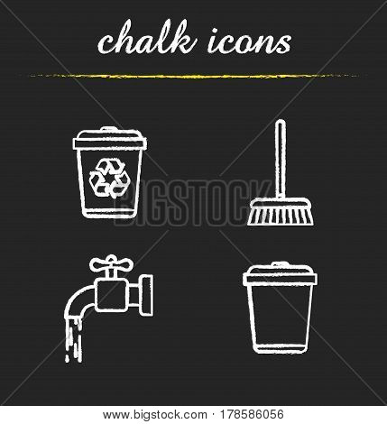 Cleaning service chalk icons set. Environment protection. Running tap water, recycle bins, mop. Isolated vector chalkboard illustrations