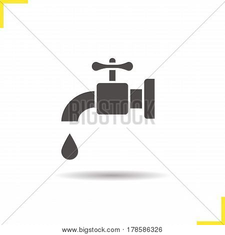 Water resources icon. Drop shadow tap silhouette symbol. Open faucet with water drop. Negative space. Vector isolated illustration