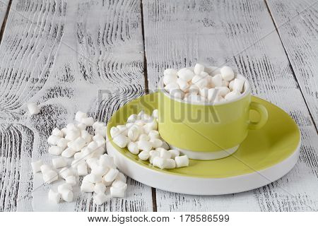 Cup Full Of Sweet Marshmallow In A White Gift Holiday