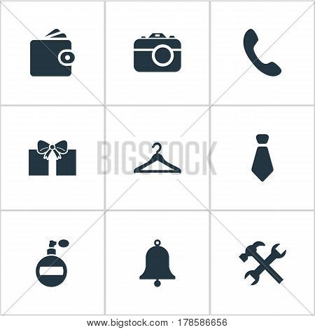 Vector Illustration Set Of Simple  Icons. Elements Gift, Digital Camera, Billfold And Other Synonyms Ring, Camera And Tool.