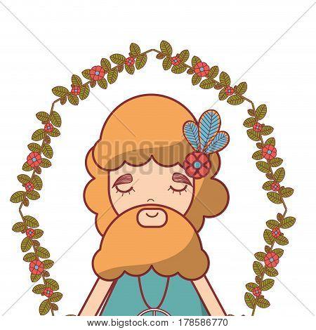 man with beard peace and love meditation, vector illustration design