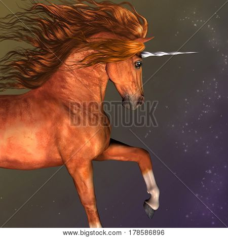 Dapple Chestnut Unicorn 3d illustration - A unicorn is a mythological creature that has the body of a horse and a magical horn on its forehead.