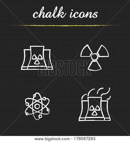 Atomic energy chalk icons set. Nuclear power plant with smoke, radiation and atom symbols. Isolated vector chalkboard illustrations