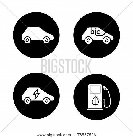 Eco friendly cars icons set. Bio, electric vehicles, eco fuel concept. Vector white silhouettes illustrations in black circles