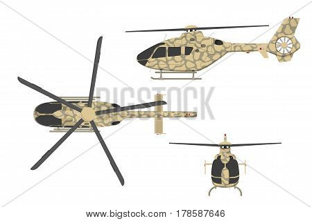 Military helicopter in flat style on white background. Top side front view. Army air vehicle. Vector illustration