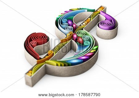 3D illustration of swirly paper with dollar sign with depth of field