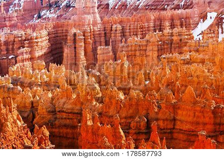 Rocks exposed to erosion action at Bryce Canyon National Park, Utah, USA