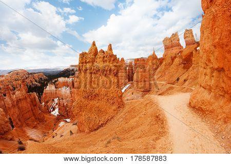 Footpath through sandstone rocks of Bryce Canyon National Park, Utah, USA