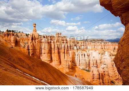 Beautiful scenery of sandstone rock formations at Bryce Canyon National Park in Utah, USA