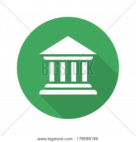 Bank building flat design long shadow icon. Courthouse. Vector silhouette symbol