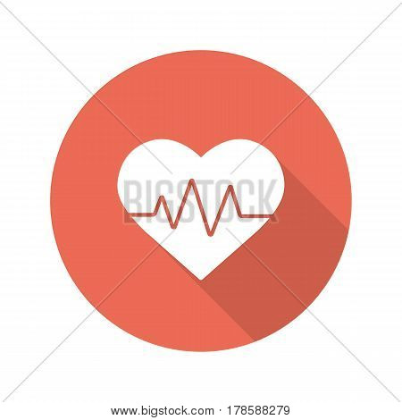 Heartbeat flat design long shadow icon. Cardiology. Vector silhouette symbol