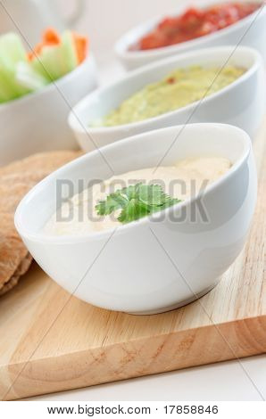 Hummus, Guacamole And Salsa Dip Bowls