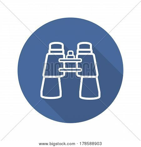 Binoculars flat linear long shadow icon. Vector line symbol