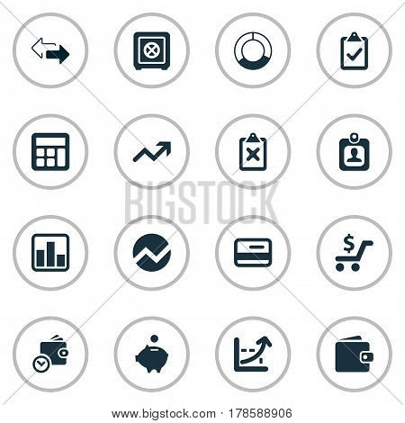 Vector Illustration Set Of Simple Investment Icons. Elements Spending, Circle Diagram, Calculator And Other Synonyms Circle, Graphic And Clipboard.