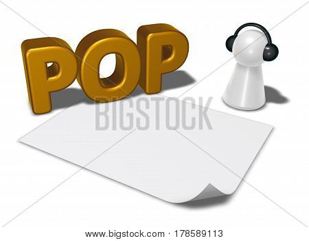 pop tag blank white paper sheet and pawn with headphones - 3d rendering