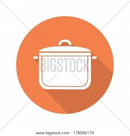 Pot flat design long shadow icon. Saucepan. Vector silhouette symbol